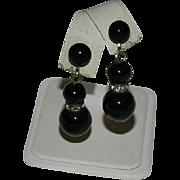 Art Deco Black Glass Bead Rondelle Dangler Earrings