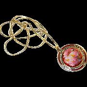 Beautiful Cloisonne Enamel Floral Pendant on Gold Filled Chain