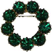 Gorgeous Brilliant Green Prong Set Rhinestone Circle Brooch