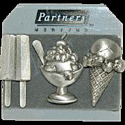 JJ Signed Triple Scatter Pin Set on Original Card