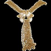 Beautiful Gold Tone Waterfall Multi STrand Chain Necklace