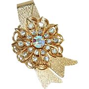 Pretty Rhinestone Ribbon Floral Brooch