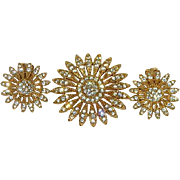 Crystal Daisy Brooch and Earrings Set