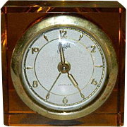 Sheffield Amber Lucite Cube Alarm Clock ~ Atomic Era