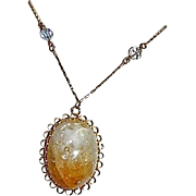 One of a Kind Huge Citrine & Quartz Hand Cabbed Pendant w/ Crystal Gold Filled Chain