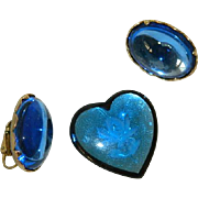 Delicious Cobalt Blue Lucite Heart Brooch & Earrings Married Set