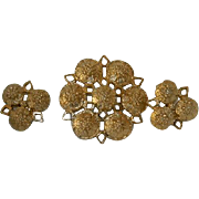 """Sarah Coventry """"Fashion Rite"""" Brooch and Earring Set"""