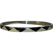 Mid Century Black Onyx & Mother of Pearl Bangle Bracelet