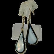 Elegant Large Sterling Mother of Pearl Black Onyx Dangler Earrings