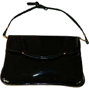 Sleek Black Patent Leather Hand Bag with Shoulder Strap