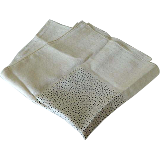 "36"" x 21"" Pure Silk Polka Dot and Champagne Scarf ~ Stunning"