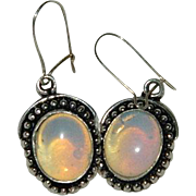 Vintage Sterling & Opaline Dangler Earrings