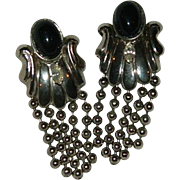 Impressive Silver Tone Black Cab & Rhinestone Fringe earrings