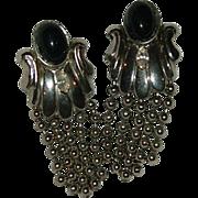Impressive Silver Tone Black Cab & Rhinestone Fringe earrings