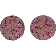 Pretty Micro Seed Bead Pinks Clip Earrings
