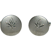 Pristine Maple Leaf Silver Tone Cuff Links