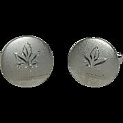 Pristine Maple Leaf Silver Tone Cuff Links