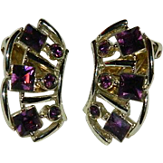 Bogoff Purple Square Rhinestone Lobe Crawler Earrings