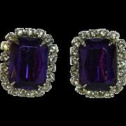 Glorious Deep Purple Rhinestone Earrings for Pierced Ears