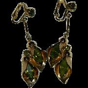 Peridot Green Large Stone Elegant Dangler Earrings