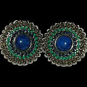 Faux Turquoise & LapisLazuli Etruscan Revival Style Earrings