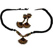 Dramatic Egyptian Revival Necklace & Earring Set