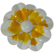 Flower Power! 1960's Enamel Flower in Yellow and White