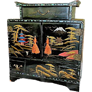 Exquisite Black Lacquer Asian Hand Painted Jewelry Armoire Chest ~K
