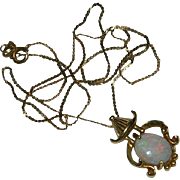 Superb 14K Gold Opal Asian Themed Pendant on Liquid Chain ~ K