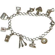 Charming Sterling Silver Charm Bracelet ~ 10 Charms ~ K