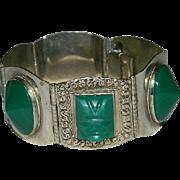 Taxco Sterling Green Mask Huge Link Bracelet