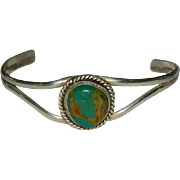 Old Pawn  Green Turquoise Sterling Silver Bracelet