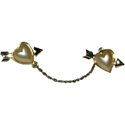 """""""Sweethearts"""" Early Sarah Coventry Chatelaine Pin Brooch"""