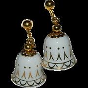 Vintage Avon Porcelain Wedding Bell Earrings 24k gold Leaf