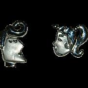 Figural JJ Rockabilly Girl and Boy Earrings ~ Pierced ~ K