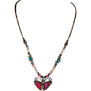 Pretty Sterling Turquoise MOP Fetish Necklace ~ Butterflies ~K