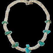 Navajo Turquoise Heishi Bead Necklace ~ K