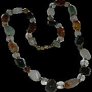 Genuine Agate Stone Necklace ~ Carnelian Chalcedony Onyx