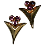 Art Deco Purple Rhinestone Screw Back Earrings