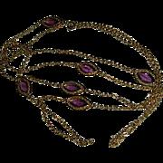"Stunning Purple Bezel Set Crystal Gold Tone Chain Necklace 54"""
