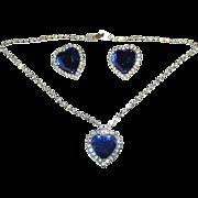 Spectacular Royal Blue Rhinestone Heart Necklace Earring Set ~ Pierced ~ K