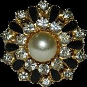 Beautiful Rhinestone Enamel & Faux Pearl Cocktail Ring  ~ Adjustable