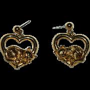 Avon Kitten Heart Hoop Earrings in Gold Tone