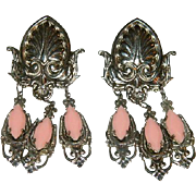 Funky South Western Salmon Rhinestone Dangler Earrings