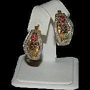 Estate Vermeil Genuine Ruby Sapphire Emerald Hoop Earrings