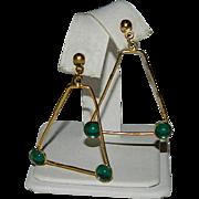 Funky Rockin' Green Cab Triangle Dangler Earrings for Pierced Ears