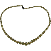 Estate Fish Scale Pearl Strand Necklace & Sterling Silver Clasp