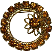Sparkling Amber Rhinestone Circle Brooch ~ K