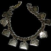 Silver Tone 10 Commandments Charm Bracelet ~ K