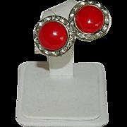 Stunning Cherry Red Enamel Channel Set Rhinestone Earrings